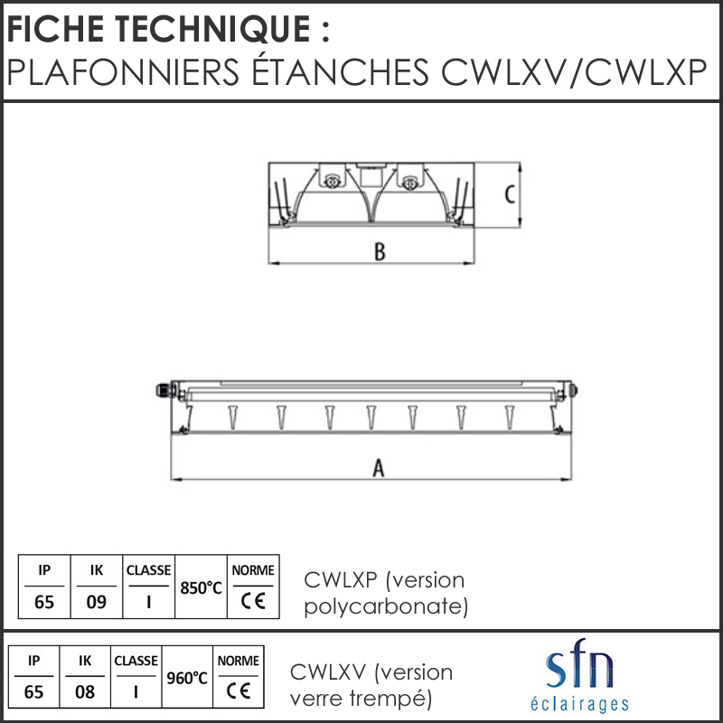 plafonniers  u00c9tanches cwlx salles blanches